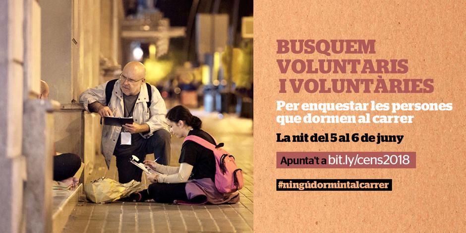 Busquem 600 persones voluntàries per al cens de persones que dormen al carrer
